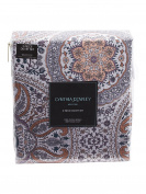 Cynthia Rowley 3pc Full Queen Cotton Duvet Cover Set Paisley Moroccan Medallion Coral Red Blue Taupe