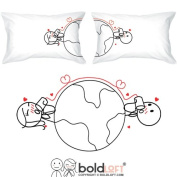 BOLDLOFT Love Has No Distance Couples Pillowcases (King Size)- Long Distance Relationships Gifts, Long Distance Gifts for Couples, Valentines Day Gifts for Him for Her, His and Hers Gifts, LDR Gifts