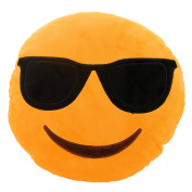Adorox Emoji Smiley Face Emoticon Yellow Round Cushion Pillow Stuffed Plush Novelty Toy (Yellow