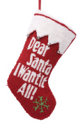 "Glitzhome ""Dear Santa I Want It All"" Rug-Hook Stocking, Wish List"