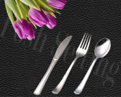 Posh Setting Elegant Upscale Polished Silver Like, Heavyweight Plastic Cutlery 180 Piece Set (Includes 80 Forks, 40 Knives and 40 Soup Spoons) Settings for 40 People.