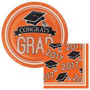 School Colours Class of 2017 Graduation Orange Dessert Plates & Napkins Party Kit for 18