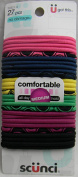 Scunci Bright Colours Pink, Black, and Blue - 27 Count Comfortable Elastics for all day Medium Hold