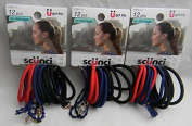 Scunci Bright Colours Red Dark Blue, and Black - 36 Count - 3 Packages of 12 Count Elastics With charms