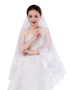 Soft Tulle Wedding Bridal Veil One Tier 1.5 Metres Long Cathedral Chapel Veils with Embroidery Lace Trim for Women Bride Lady