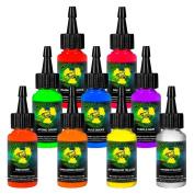 Moms 9 ULTRA VIOLET Nuclear Colours .150ml Set UV Tattoo Ink LOT 30ml