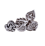 Lot Of 5 Pieces Hand Carved Floral Pattern Wood Stamp Printing Blocks Textile Block