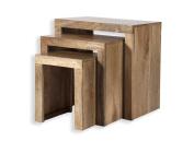 Cube Mango Wood Nest of Tables / Solid Mango Wood Set of Three Nesting Tables / Modern Living Room Furniture