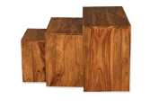 Cube Indian Rosewood Nest of Tables / Solid Sheesham Indian Rosewood Nesting Tables / Modern Living Room Furniture