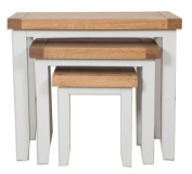 Canberra Grey Rustic Oak Top Nest of Tables / Solid Oak Top Set of Three Nesting Tables / Living Room Furniture