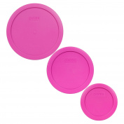 Pyrex 7200-PC 7201-PC 7402-PC Pink Round Plastic Storage Lids - 3 Pack