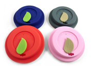 Premium Silicone Cup Lids - Creative Reusable Coffee / Tea Mug Lids with MOUTH SEAL [Set of 4] (9.0cm & 8.7cm) - Anti-Dust & Spill Proof & Keeps Drink HOT