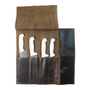 Rustic Leather Knife Roll (5 pockets) Handmade by Hide & Drink :