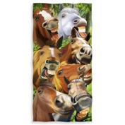 Horses Selfie Cotton Beach Towel