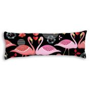 Veronicaca Pink Flamingo Pattern Black Background Custom Cotton Body Pillow Covers Pillow Cases 50cm x 140cm