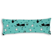 Veronicaca Black Cats And White Mouse Blue Background Custom Cotton Body Pillow Covers Pillow Cases 50cm x 140cm