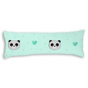 Veronicaca Cute Panda Head Light Blue Background Custom Cotton Body Pillow Covers Pillow Cases 50cm x 140cm