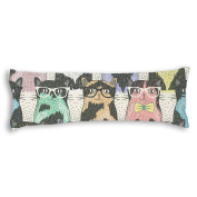 Veronicaca Fashion Cats With Glasses Pattern Custom Cotton Body Pillow Covers Pillow Cases 50cm x 140cm