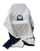 Top Listing Luxury Cosy Super SoSquare ft Quilted Throw Blanket and Back Fleece, Navy Blue