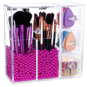 PuTwo Makeup Organiser Birthday Gifts for Her With 2 Make Up Brush Holders and 3 Drawers All In One Case with Free Rosy Pearl