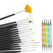 Nail Art Set ,Fheaven 20pc Nail Art Manicure Pedicure Beauty Painting Polish Brush and Dotting Pen Tool Set for Natural, False, Acrylic and Gel Nails