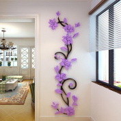 Gotd 3D DIY Floral Wall Stickers Living Room TV Background 45cm x 150cm , Purple