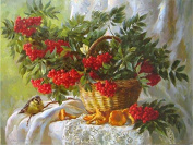 Arts Language Wooden Framed 41cm x 50cm Paint by Numbers Diy Painting Fruit in basket