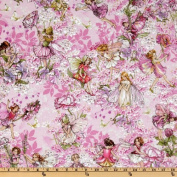 Michael Miller Petal Flower Fairies Allover Fairies Pink Fabric By The Yard