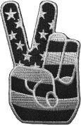 Two Finger Peace Sign with American Flag Embroidered Iron Sew On Patch - Black & White by Ranger Return