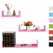 WOLTU RG9239rs 3 Set Floating Wall Shelf Floating Shelves Storage Lounge Board Mounted Display Shelves Rose in Different Sizes and Colours