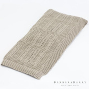 Soft Beige Tan Cable Knit Cotton Throw | Sweater Blanket Casual Thick
