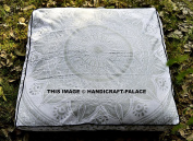 """Ombre Silver Mandala Indian Pets / Dog Bed Ethnic Cotton Outdoor Throw Daybed Ottoman Pouffe Cover 100% Cotton Handmade By """"Handicraftspalace"""" Square Floor Pillow Cover"""