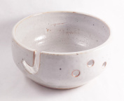 Aunt Chris' Pottery - Handmade Yarn Bowl - Natural White Glazed - With Hook Hole To Guide Yarn Through - 3 Holes For Large Needles - Great Gift For Someone Who Knits Or Sews!