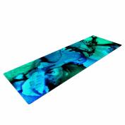 "KESS InHouse Yoga Mat Claire Day ""Tidal Waves"" Blue Teal Painting Yoga Mat, 180cm x 60cm"