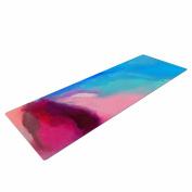 "KESS InHouse Yoga Mat Geordanna Fields ""Sabras"" Teal Blue Painting Yoga Mat, 180cm x 60cm"