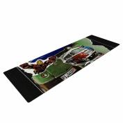 "KESS InHouse Yoga Mat Jina Ninjjaga ""Iron"" black Green Illustration Yoga Mat, 180cm x 60cm"