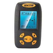 Gracetop Portable Fish Finder, Water Depth & Temperature Fishfinder with Wired Sonar Sensor Transducer and LCD Dispaly