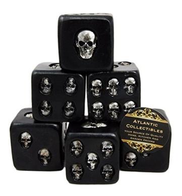 Atlantic Collectibles Large Decorative 3.8cm Cube Skull Face Gaming Dice Set of 6 Matte Black Finish