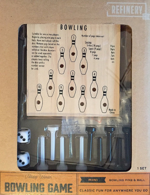 Refinery And Co. Tabletop Wooden Mini Bowling Game