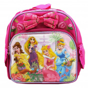 Disney Princess Hot Pink Coloured Mini Kids Backpack With Rose Pattern Bow