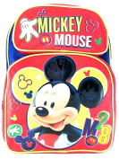 New Disney Mickey Mouse 41cm Canvas Red 3D School Backpack