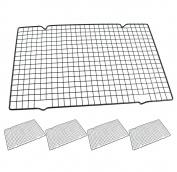 HUAXIONG 40 cm x 25.3 cm Metal Silver Tone Rectangle Shape Squares Holes Grilling Barbecue Wire Mesh