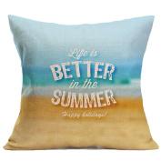 Leewa . Summer Beach Flax Sofa Bed Home Decoration Pillow Case