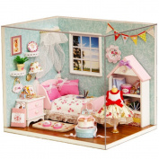 Flever Dollhouse Miniature DIY House Kit Creative Room With Furniture and Cover for Romantic Artwork Gift