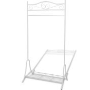 Anself Metal Clothing Rack Garment Rail with Storage Shelf White