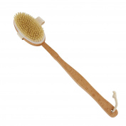Discoball Natural Bristles Body Brushes Back Scrubber Long Wood Handle Bath Brush with Detachable Head for Bath Spa Shower Massager Polished Beechwood Handle