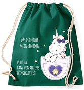 Jute bag Gym Bags Sports Bag Cloth bag Cotton bag with cord Gymsack Kangarooh Bag horn Unicorn cutie Pocket That is not mean Unicorn - Green