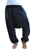 virblatt single-color one-size-fits-all harem pants with deep crotch Unisex S - L aladdin pants with zippered pockets - Unüberlegt black