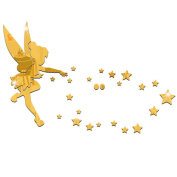 MEYA 26pcs/set Tinkerbell Fairy Wall Mirror Acrylic Mirrored Decorative Tinker bell Wall stickers Home Decoration