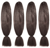 American Dream Brilliant Jumbo Kanekelon Braid for Hair Weaves, Dreads and Avant Garde Creative Styling, Mousey Brown, Pack of 4